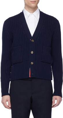 Thom Browne Patch pocket wool rib knit cardigan