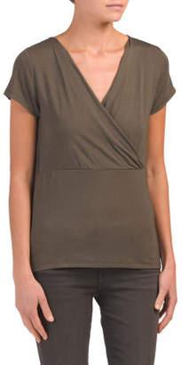 Short Sleeve V Neck Wrap Top