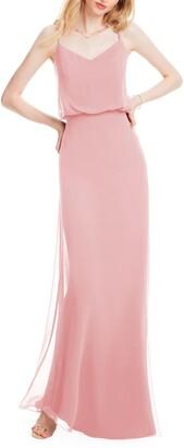 #Levkoff Spaghetti Strap Chiffon Gown