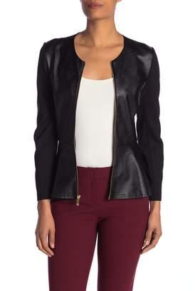 Nanette Lepore NANETTE Faux Leather Mixed Media Jacket