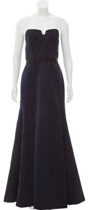 Reem Acra Beaded Strapless Gown
