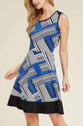 Riah Fashion Keyhole-Back Abstract Dress