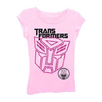 Asstd National Brand Transformers Girls' Giant Logo Short Sleeve Graphic T-Shirt with Pink Foil