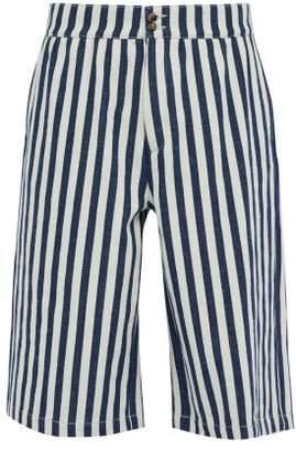 Loewe Striped Cotton Shorts - Mens - Navy White