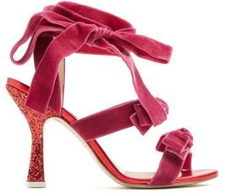 ATTICO Marla Wraparound Velvet Sandals - Womens - Pink Multi