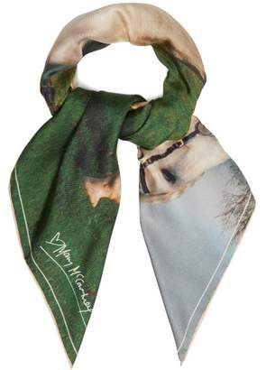Mary Mccartney - Into The View Print Silk Scarf - Womens - White