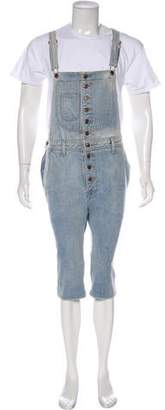 Jeremy Scott Denim Cropped Overalls w/ Tags