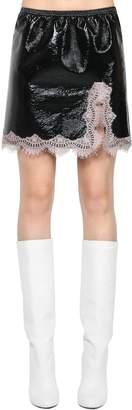 Giamba Wrinkled Vinyl & Lace Mini Skirt