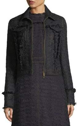 Tory Burch Aria Zip-Front Tweed Jacket