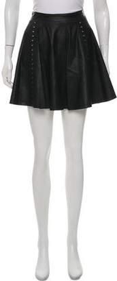 Alice + Olivia Leather Flared Skirt