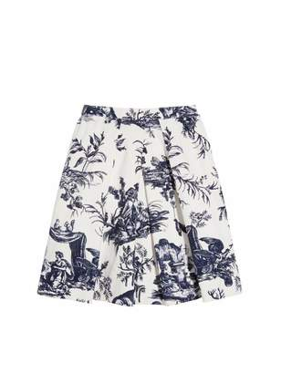 Oscar de la Renta Toile de Jouy Cotton-Canvas Skirt