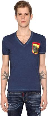 DSQUARED2 Printed V-Neck Cotton Jersey T-Shirt