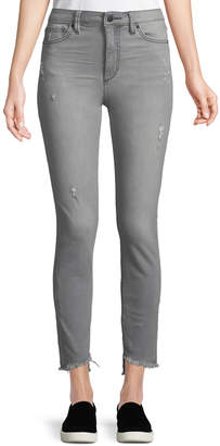 Joe's Jeans Janine High-Rise Frayed Ankle Jeans, Gray