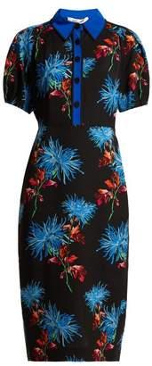 Diane von Furstenberg Hewes Crepe Midi Dress - Womens - Black Print