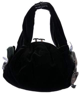 Marc Jacobs Snakeskin & Ostrich-Accented Velvet Shoulder Bag