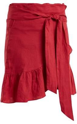 Etoile Isabel Marant Tempster Linen Wrap Skirt - Womens - Dark Pink