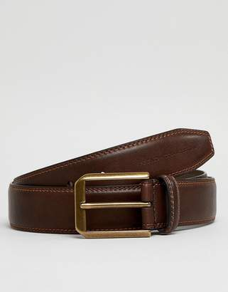 French Connection Casual Leather Belt In Brown