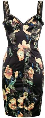 Philipp Plein floral print studded bodice dress