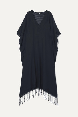SU Paris - Jimba Fringed Ribbed Cotton-gauze Kaftan - Black