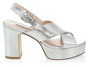 Stuart Weitzman Women's Jerry Platform Metallic Leather Sandals