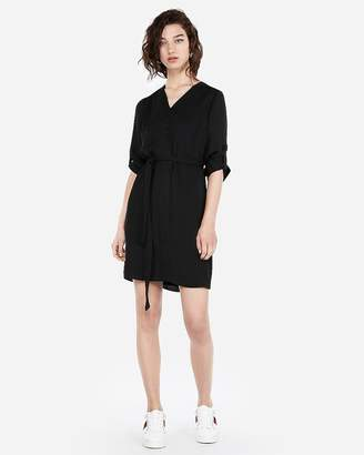 Express Covered Button Front Shirt Dress