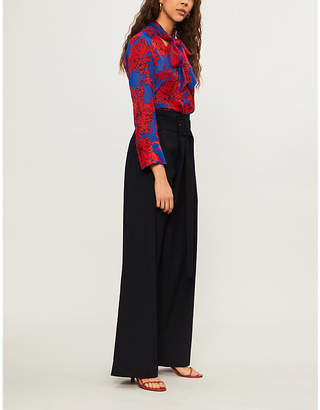 Alice + Olivia Alice & Olivia Gwenda pussy-bow floral-print crepe blouse