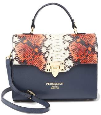 Persaman New York Eufemia Snake-Embossed Leather Satchel Bag