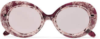 KREWE - Iris Round-frame Acetate And Rose Gold-tone Mirrored Sunglasses - Pink