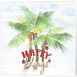 Braun Xmas Palm Trees By Lisa Powell Canvas Art