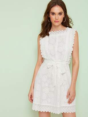 Shein Self Tie Zip Back Eyelet Embroidery Lace Dress