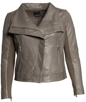 Trouve Trouv? Drape Front Leather Jacket