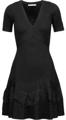 Antonio Berardi Lace-Paneled Stretch-Knit Mini Dress