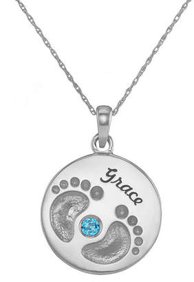 JCPenney FINE JEWELRY Personalized 14K White Gold Name and Birthstone Footprints Pendant Necklace