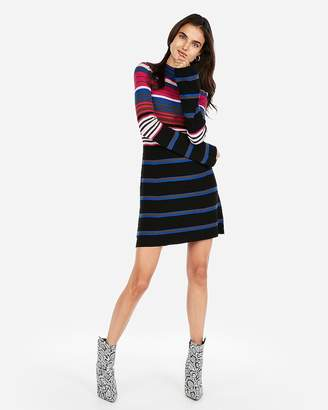 Express Striped Ribbed Mock Neck A-Line Dress