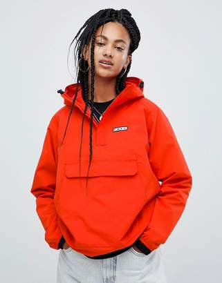 Dickies overhead hooded jacket with half zip front pocket