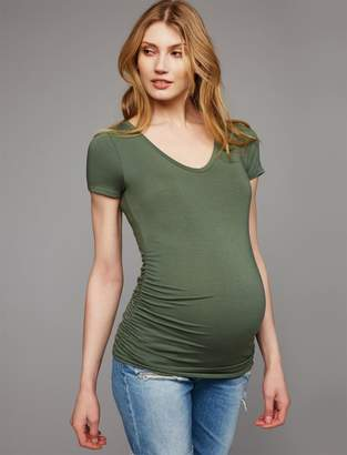 A Pea in the Pod V Scoop Neck Side Ruched Maternity Tee- Stripe