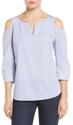 Petite Women's Nydj Agnes Print Cold Shoulder Cotton Top $98 thestylecure.com