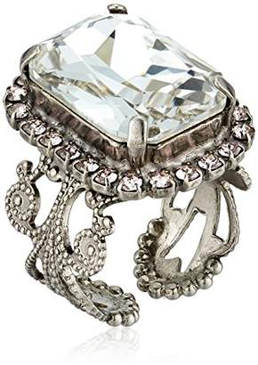 Sorrelli Womens Snow Bunny Petite Emerald-Cut Ring