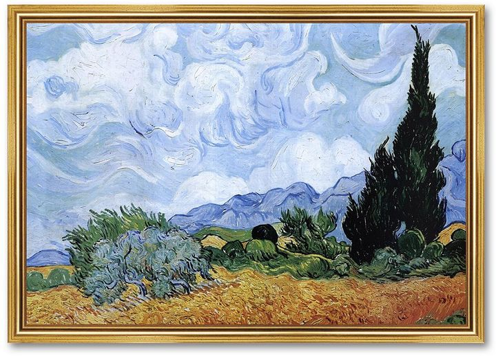 """A Wheat Field with Cypresses"" Framed Art Print by Vincent van Gogh"