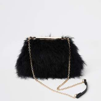 River Island Womens Black feather frame chain bag