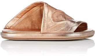 Marsèll Women's Asymmetric Metallic Leather Slide Sandals