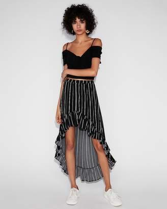 Express Striped Ruffle Maxi Skirt