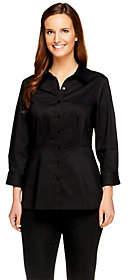 Denim & Co. Stretch Woven 3/4 Sleeve PeplumShirt
