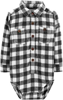 Osh Kosh Oshkosh Bgosh Baby Boy Flannel Plaid Button Down Bodysuit
