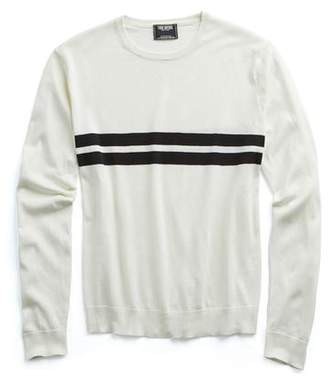 Todd Snyder Double Stripe Silk-Cotton Crewneck Sweater in Black Surf Stripe