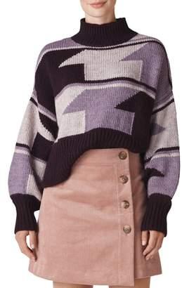 Whistles Intarsia Funnel Neck Sweater