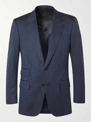 Kingsman Navy Unstructured Herringbone Wool, Silk And Linen-Blend Suit Jacket