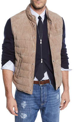 Brunello Cucinelli Men's Suede Snap Vest