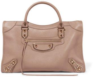 Balenciaga Metallic Edge City Medium Textured-leather Tote - Beige