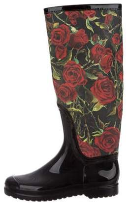 Dolce & Gabbana Floral Knee-High Rain Boots Red Floral Knee-High Rain Boots